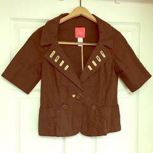 Anthropologie Lux Jacket Cropped Brown Small